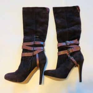 Brown Suede Boots w/Buckles Size 6.5